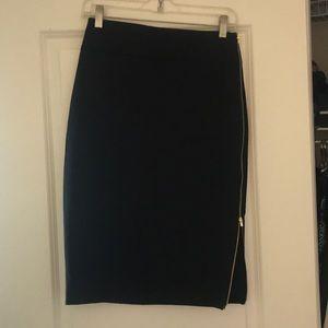 Black Express Skirt with Gold Zipper